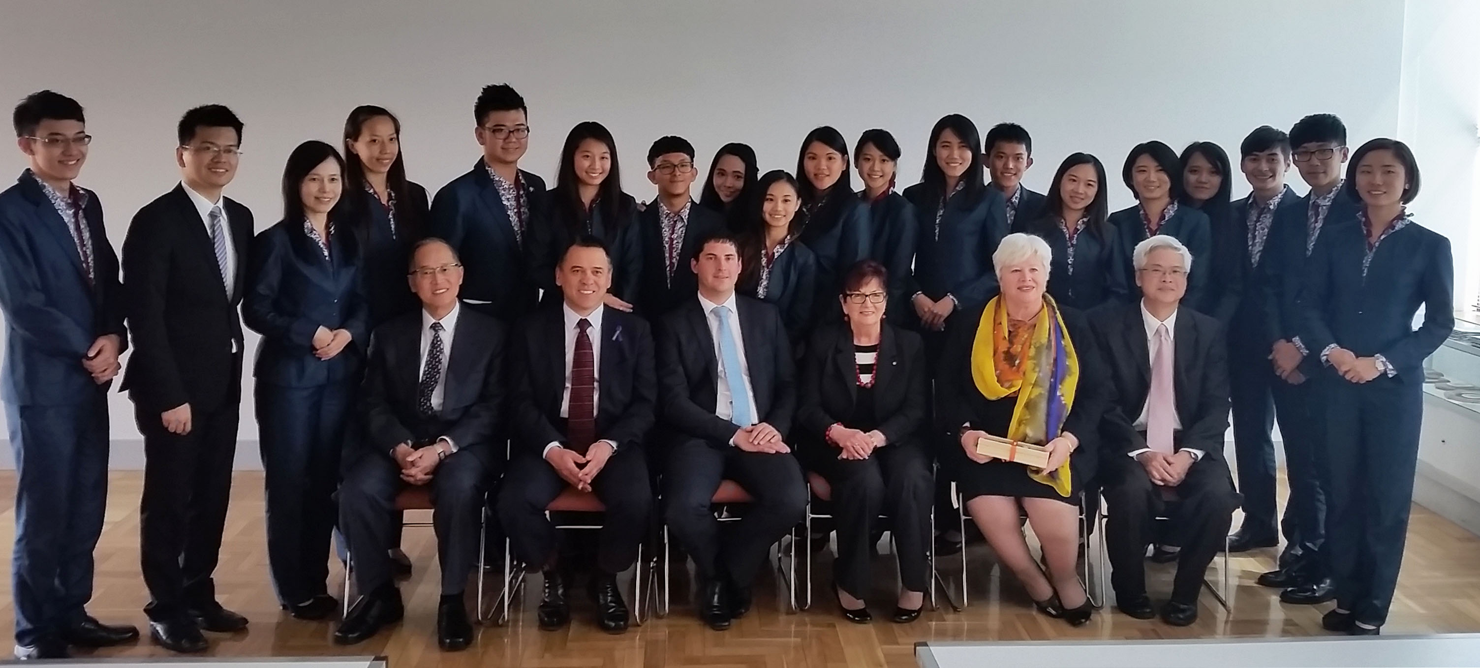 Group photo of Taiwanese Youth Ambassadors with members of the ACT Legislative Assembly, Canberra 15 September 2015.