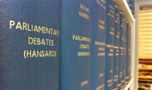 Bound Hansard volumes on shelf