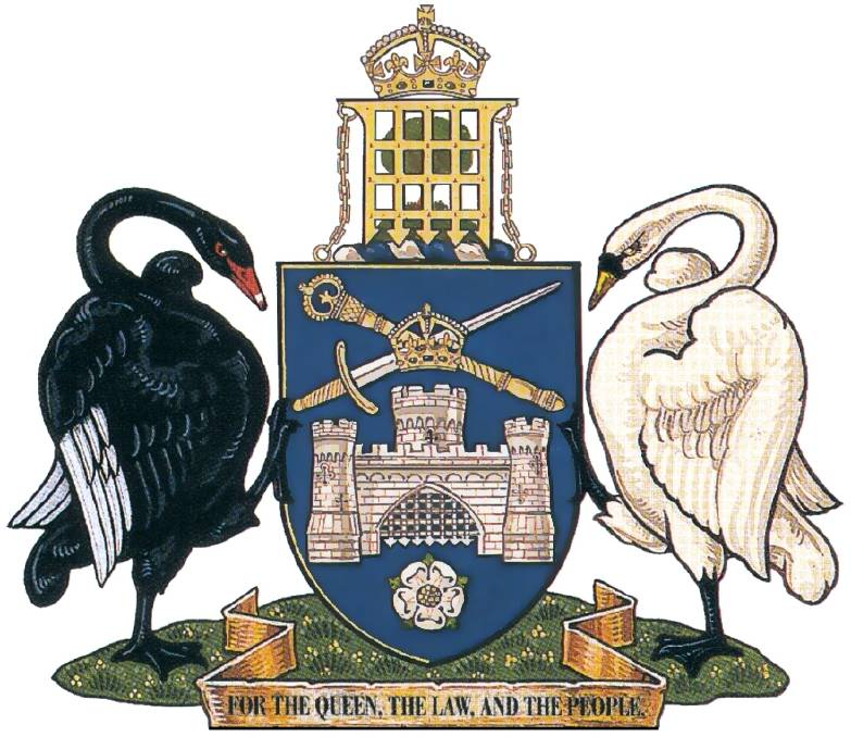 The coat of arms of the city of Canberra: a blue shield with two swans either side, topped with a portcullis and the motto 'for the Queen, the Law, and the People